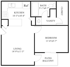 B-A1: 1 Bedroom & 1 Bath (504 square feet)