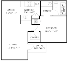 B-A3: 1 Bedroom & 1 Bath (629 square feet)