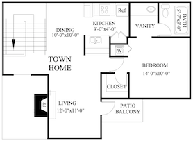 B-A5: 1 Bedroom & 1 Bath (741 square feet)
