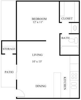 S-AA: 1 Bedroom & 1 Bath (510 square feet)