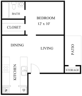 S-AB: 1 Bedroom & 1 Bath (600 square feet)