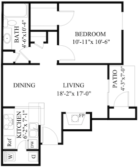 S-AB1: 1 Bedroom & 1 Bath (705 square feet)