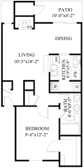 S-AC1: 1 Bedroom & 1 Bath (728 square feet)