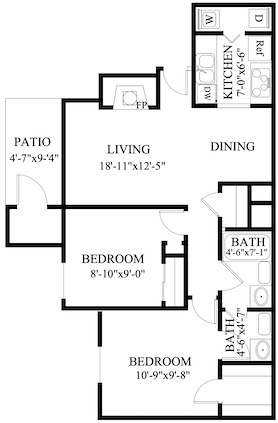 S-BD: 2 Bedroom & 1.5 Bath (837 square feet)