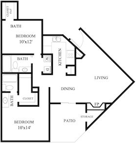 S-BE2: 2 Bedroom & 2 Bath (1,056 square feet)